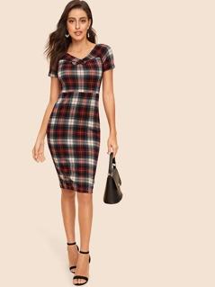 60s Crisscross Neck Buttoned Tartan Split Dress
