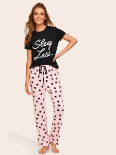 Slogan Print Top & Drawstring Waist Heart Pants PJ Set