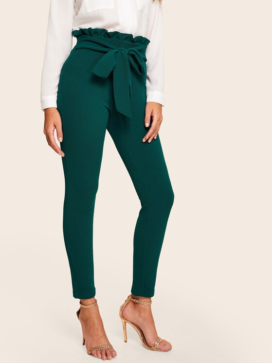 bf128c1f6ee Tied Paperbag Waist Skinny Pants | MakeMeChic.COM