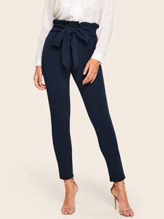 Tied Paperbag Waist Skinny Pants