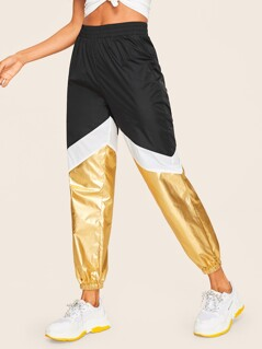 Elastic Waist Cut-and-Sew Metallic Pants