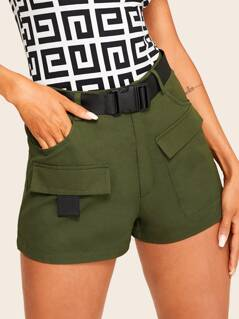 Buckle Belted Pocket Patched Utility Shorts