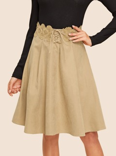 60s Tie Up Lace Detail Pleated Skirt
