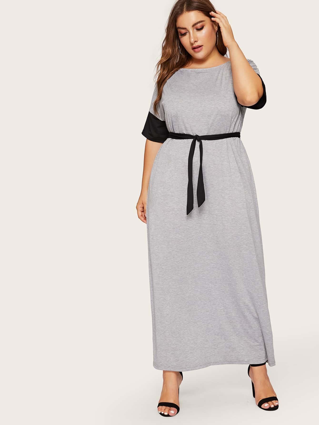 Купить Размера плюс платье с поясом и контрастным рукавом, Franziska, SheIn