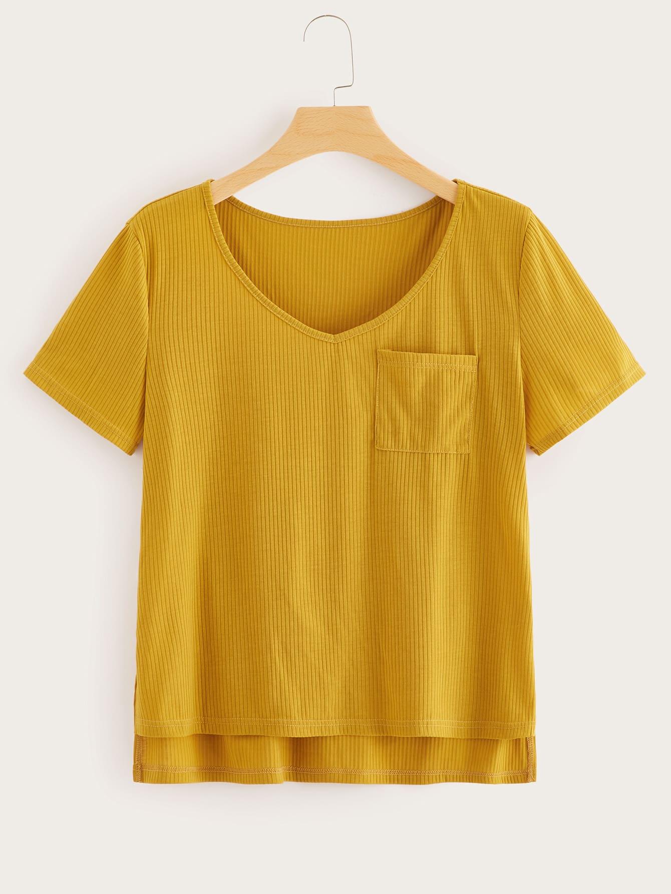 Купить Размера плюс однотонная футболка с карманом, null, SheIn