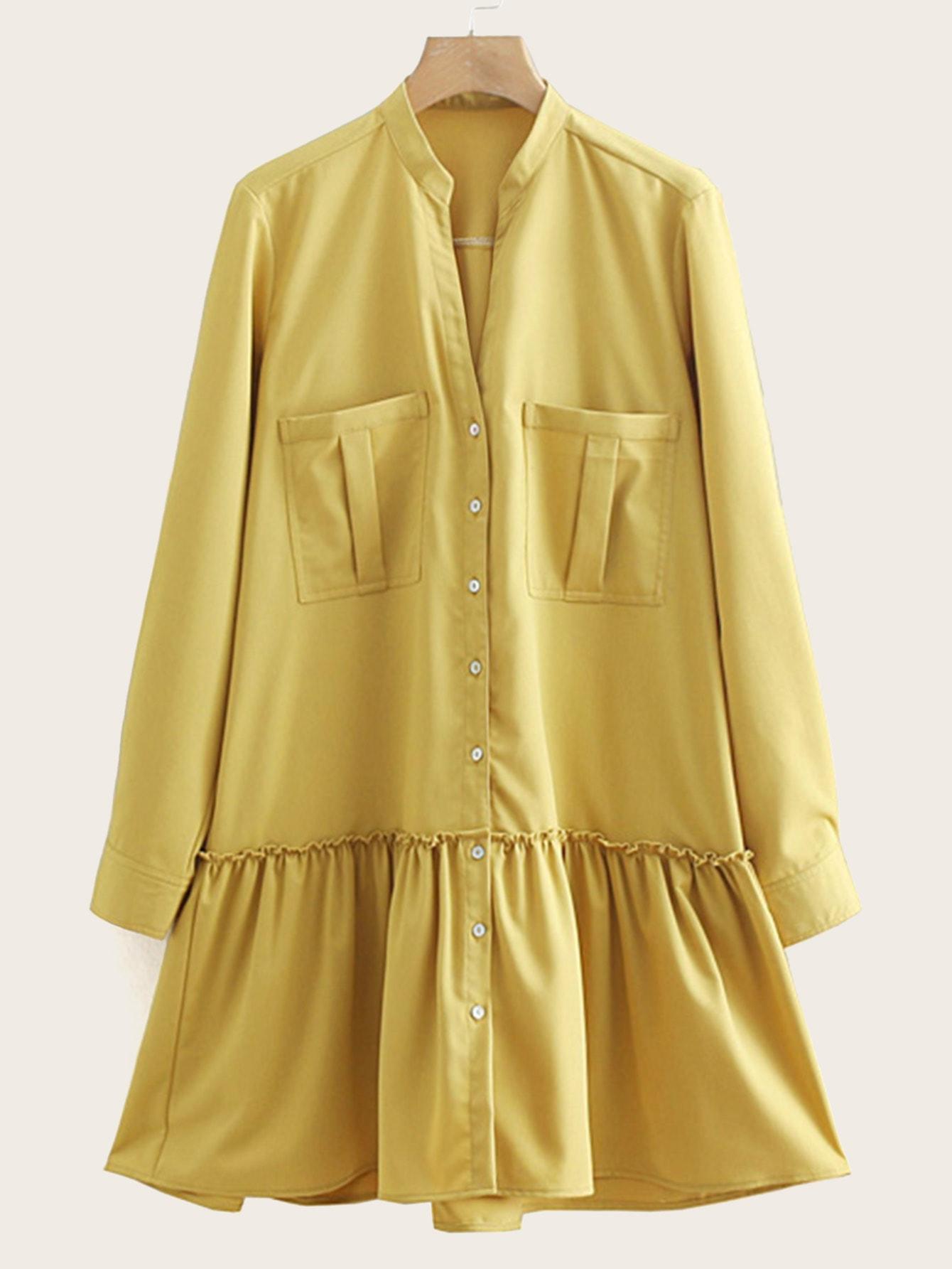 Купить Платье-рубашка с двумя кармана и оборкой, null, SheIn