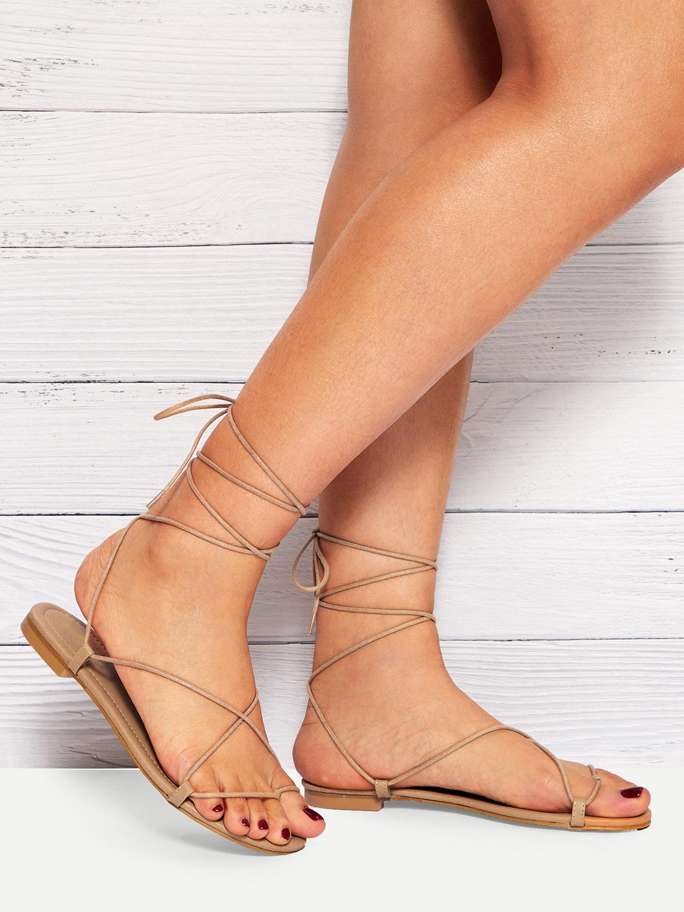Купить Плоские сандалии на шнуровке с крестообразной лентой, null, SheIn