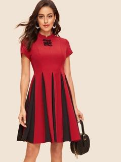 40s Knot Button Front Godet Dress