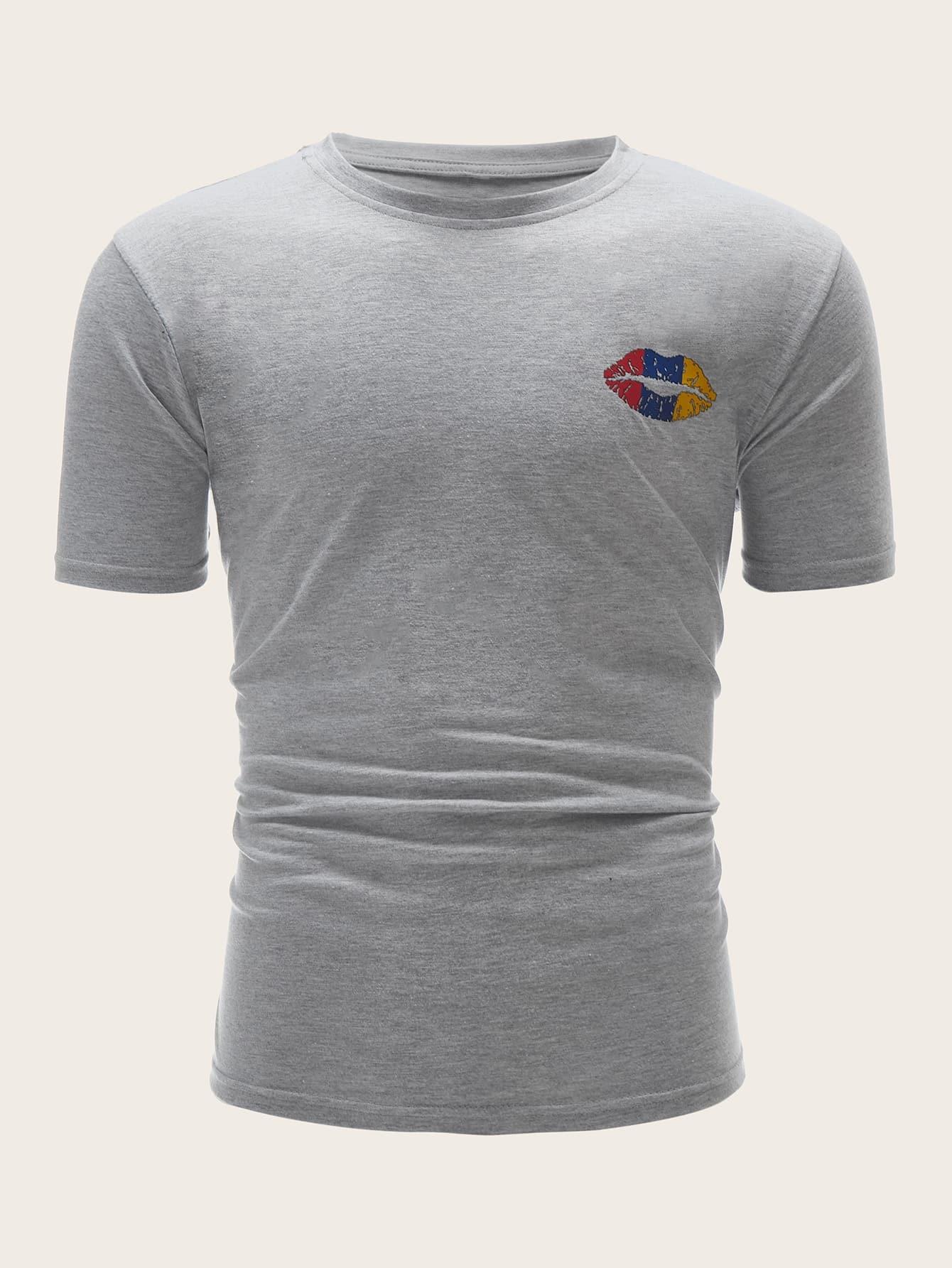 Купить Мужская рубашка с принтом губы, null, SheIn