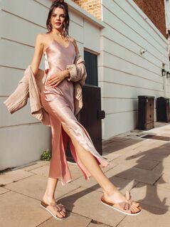 Crisscross Draped Back Split Cami Satin Dress