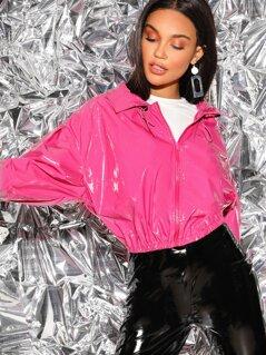 Neon Pink Drawstring Collar Faux Patent Jacket