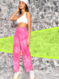 Tie Dye Ruched Hem Pleated Pants Without Chain