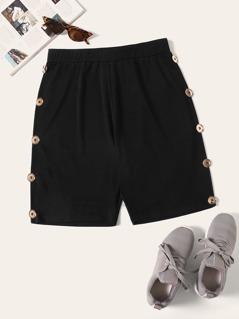 Plus Button Detail Solid Shorts