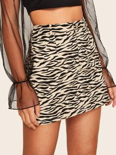 Slant Pocket Zebra Skirt