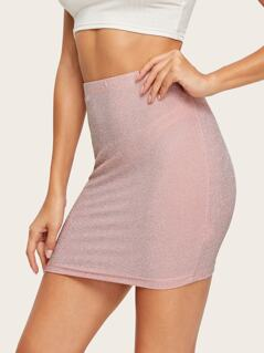 Elastic Waist Glitter Skirt
