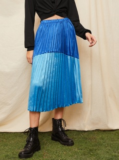 Cut-and-Sew Chevron Pleated Skirt