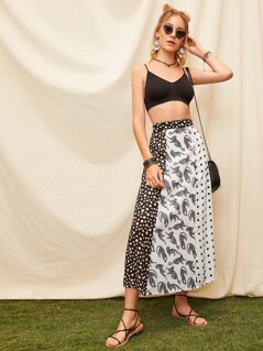 Two Tone Cut-and-sew Skirt
