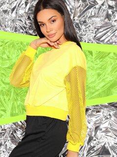Neon Yellow Drop Shoulder Fishnet Sleeve Sweatshirt
