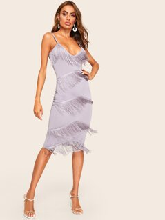 Tiered Fringe Cami Bodycon Dress