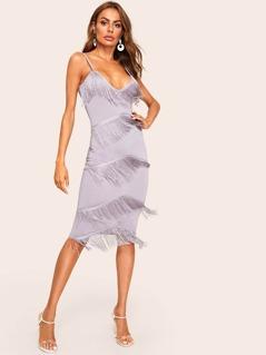 Tiered Fringe Cami Bodycon Dress