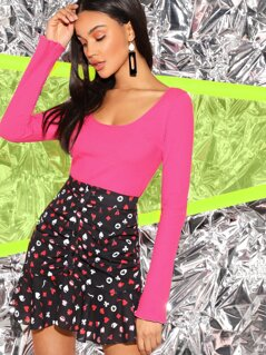 Neon Pink Slim Fitted Rib-knit Crop Tee