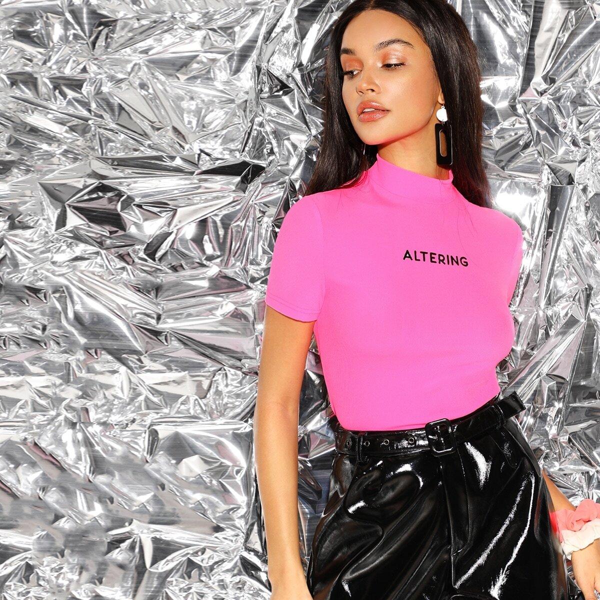 Fel roze Casual Tekst T-shirts