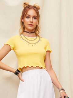 Crop Frilled Trim Rib-knit Top