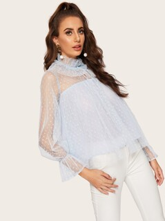 Ruffle Neck Bell Sleeve Dot Mesh Overlay Top