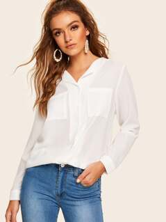 Button & Pocket Front Solid Top