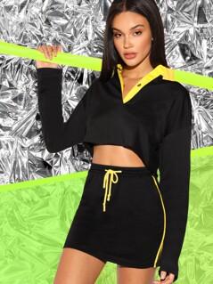 Contrast Collar Crop Top & Drawstring Waist Skirt Set