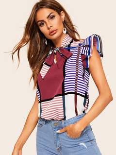 Tie Neck Ruffle Armhole Stripe Top