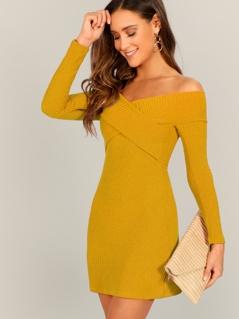 Cross Wrap Off Shoulder Dress
