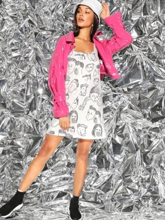 Allover Figure Print Tank Dress