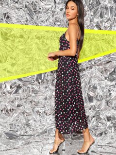 Twist Detail Allover Print Bustier Cami Dress