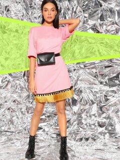 Drop Shoulder Fringe & Pom Pom Detail Dress