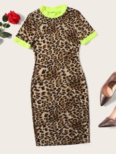 Colorblock Form Fitted Leopard Ringer Dress