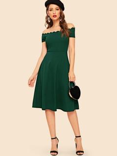 Solid Pleated Scallop Trim Bardot Dress
