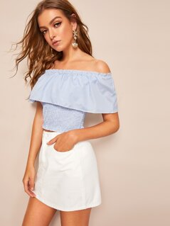Off Shoulder Frill Trim Crop Shirred Striped Top