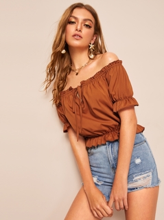 Off Shoulder Frilled Trim Tie Front Top
