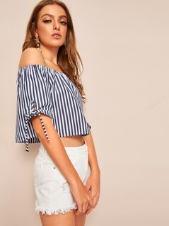 Off Shoulder Tied Cuff Striped Top