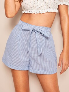 Rolled Hem Vertical Striped Belted Shorts