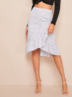 Asymmetrical Ruffle Hem Polka-dot Wrap Skirt