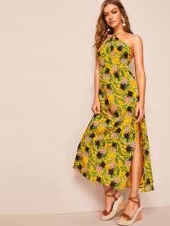 Allover Pineapple Split Thigh Backless Halter Dress