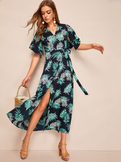 Jungle Leaf Split Sleeve Wrap Knotted Dress