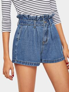 Ruffle Waist Slant Pocket Denim Shorts