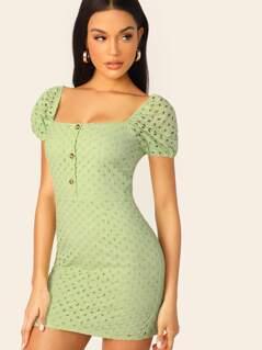 Short Sleeve Embroidered Eyelet Lace Mini Dress