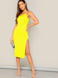 Neon Yellow Split Side One Shoulder Cami Dress