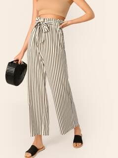 Paperbag Waist Vertical-stripe Straight Leg Pants