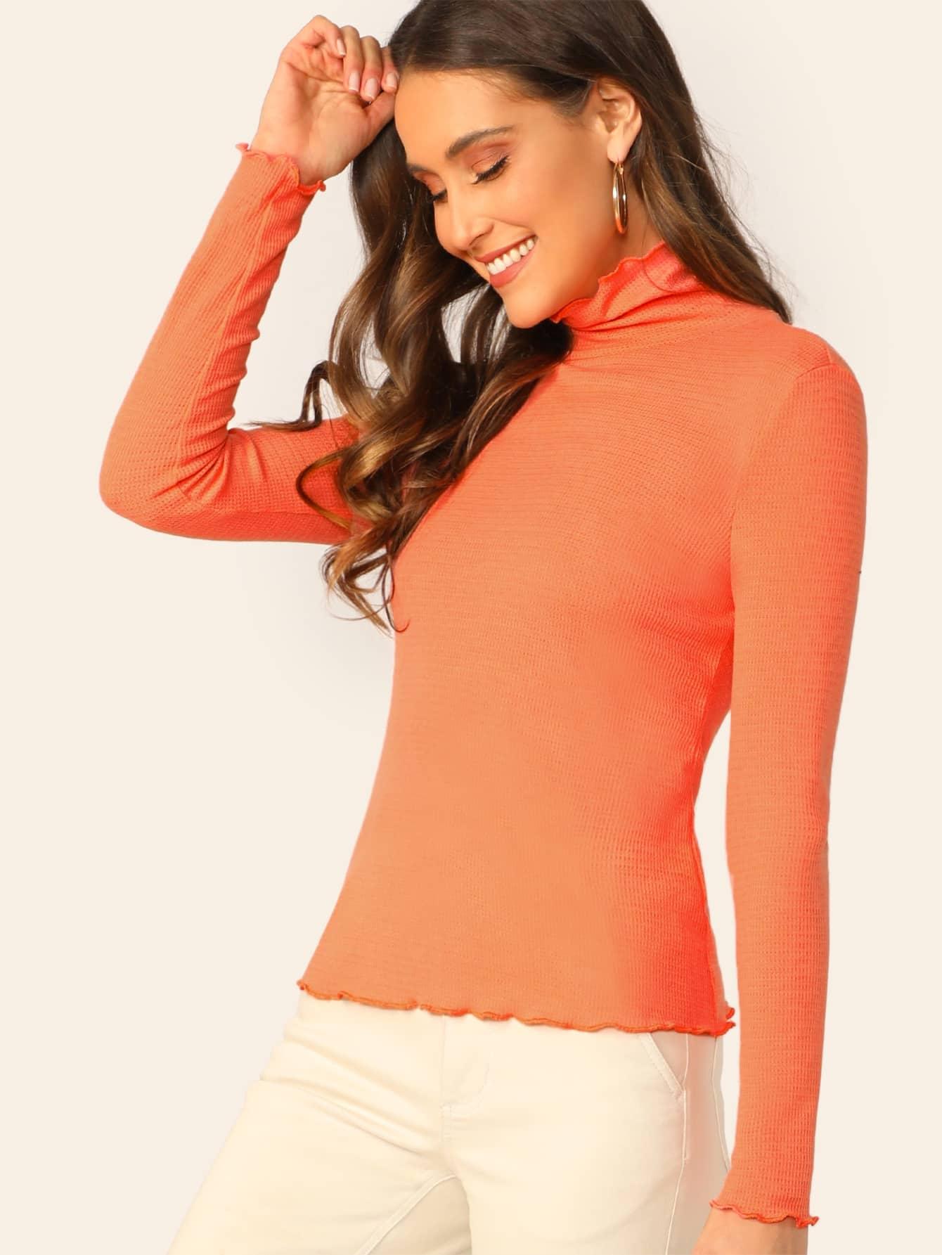 Купить Приталенная вязаная ребристая футболка с оригинальной отделкой, Anna Herrin, SheIn