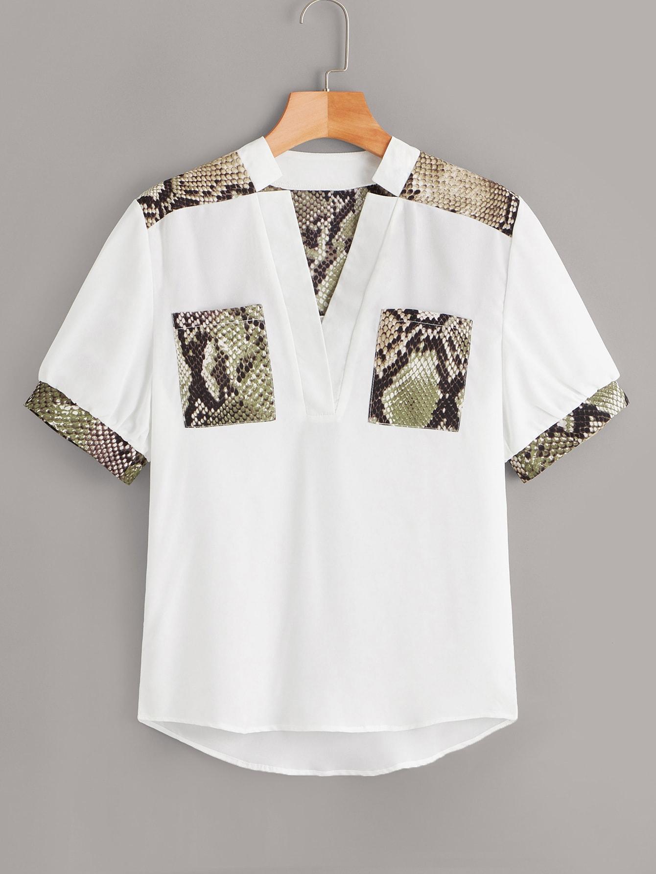 Купить Плоская блуза с змеиным принтом, null, SheIn